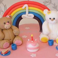 Teddy Bears picnic rainbow cake by Sugar-pie