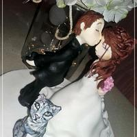 Cute wedding figures with cat