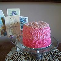 Pink ombre ruffle cake. by Kathy Kmonk