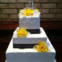 Yellow & Grey Wedding Cake