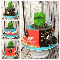 3-way Split Avengers Cake