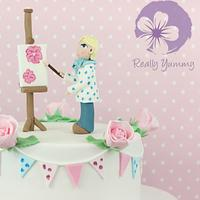 Painting cake with bunting