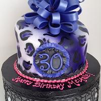 Purple & Black leopard birthday with loopy bow