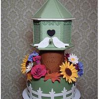 Birdhouse Fall Wedding Cake/Cupcake Tower