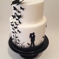 Black and White Silhouette Cake