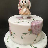 Cute Rabbit and flower cake