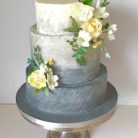 Yellow & grey ombré wedding cake