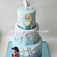 Frozen and Pirate theme 3 tier cake.