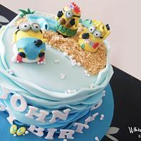 Minions in paradise theme birthday cake