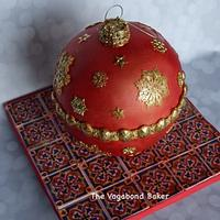 Christmas Ornament Cake on Sugar Tile board.
