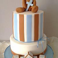 Modern Stripe Christening Cake