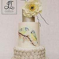 Painted birds Engagement Cake