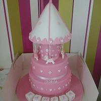 3 Tier Carousel Girls Christening Cake