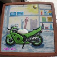 Kawasaki motorcycle in the garage