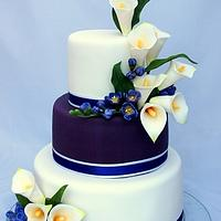 Wedding cake calla lily and freesia