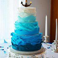 Ombre Wave Wedding Cake