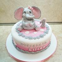 Cake with elephant for a little girl