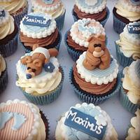 Boys christening/naming day cupcakes