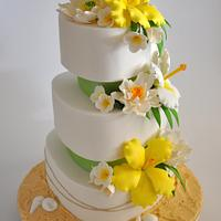 Citrus yellow and lime Beach themed wedding cake