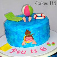 Swimming pool themed cake and cupcakes