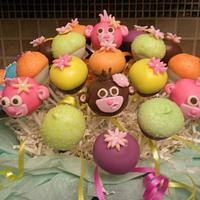 Lil monkey baby shower cake pops by Monica@eat*crave*love~baking co.