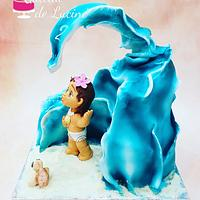 Ocean waves 3D cake with little MOANA