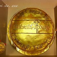 Gold coin cake