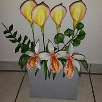 Arrangement with Calla Lily`s and Orchid...