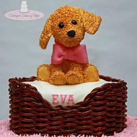 Puppy in a Wicker Basket by Centerpiece Cakes By Steph