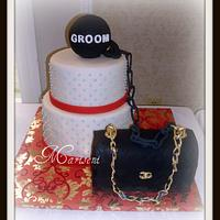 Chanel (inspired) Ball & Chain Bridal Shower Cake