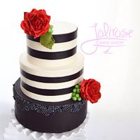 Black and white (& red) wedding cake