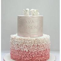Ava's Ruffled christening cake  by Patricia Tsang