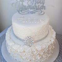 Diamante communion cake