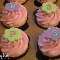 Bright Monogrammed Cupcakes