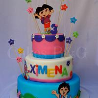 Brilliant Dora The Explorer And Diego Birthday Cake Cake By Laura Cakesdecor Funny Birthday Cards Online Alyptdamsfinfo
