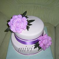 cake with peonies by mivi