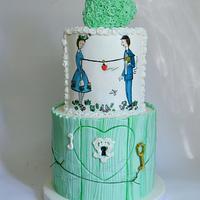 Promise peynet painted cake
