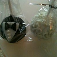 Bride and Groom cake pops