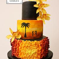 Sunset wedding cake