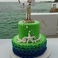 Royal Blue and Lime green Beach theme wedding cake