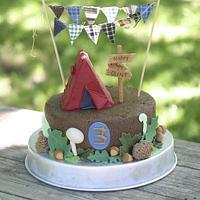 Camping Woodland Third Birthday Cake