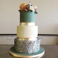 Soft Jade, Peach and Silver Cake