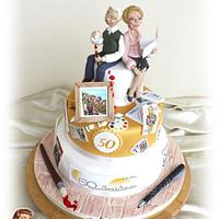 "Golden wedding cake ""50's of passions"""