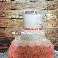 Salmon pink communion cake