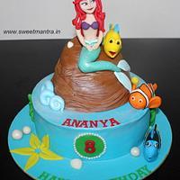 Sea, Mermaid theme customized cake with Princess Ariel figure