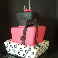 Pink, Black and Leopard Cake