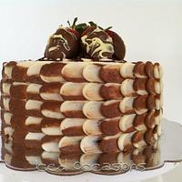 "Chocolate Dipped Strawberry ""Petal"" Cake"