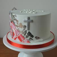 Red and white communion cake