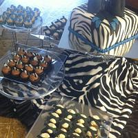 Zebra Baby Shower Cake and Minis