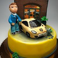 Fashion designer and his Lamborghini Cake